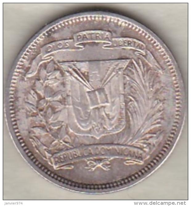 Republique Dominicaine . 25 Centavos 1956 , Argent, KM# 20 . Sup / XF ++ - Dominicaine