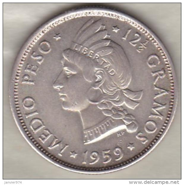 Republique Dominicaine . 1/2 Peso (Medio) 1959 , Argent, KM# 21 - Dominicaine