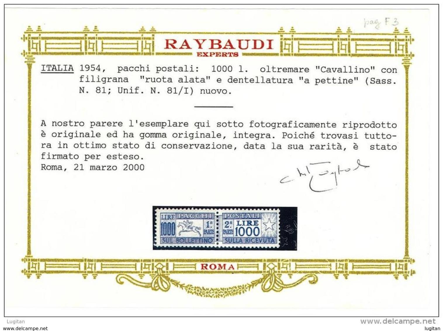 """ITALIA REPUBBLICA ANNO 1954 PACCHI POSTALI  """"CAVALLINO"""" FILIGRANA RUOTA ALATA  SASS 81 - 1 VALORE NUOVO ** GOMMA INTEGRA - 6. 1946-.. Repubblica"""