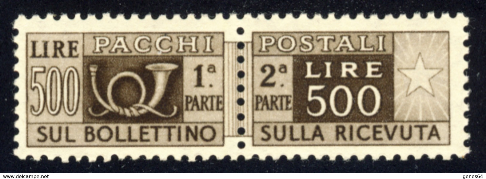 1946 – Pacchi Postali 500 Lire Bruno Scuro Filigrana Ruota (DA) MNH** - 6. 1946-.. República