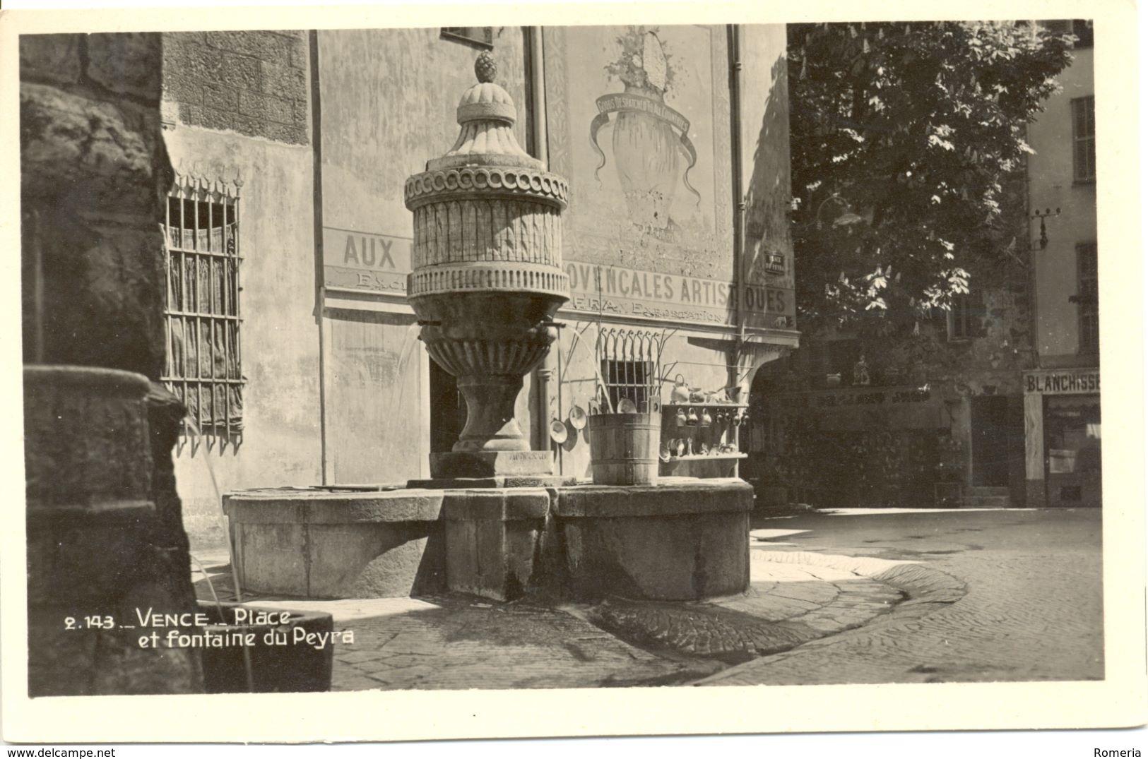 France - Alpes Maritimes - Vence - Place Et Fontaine Du Peyra - Cigogne Nº 2143 - 4969 - Vence