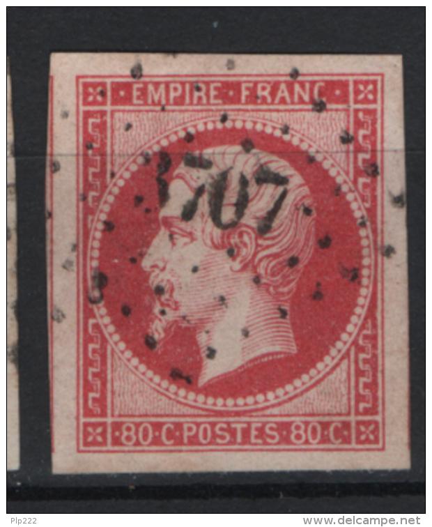 Francia 1853 80c. Unif. 17 Usato/Used VF Signed Fiecchi - 1853-1860 Napoleone III