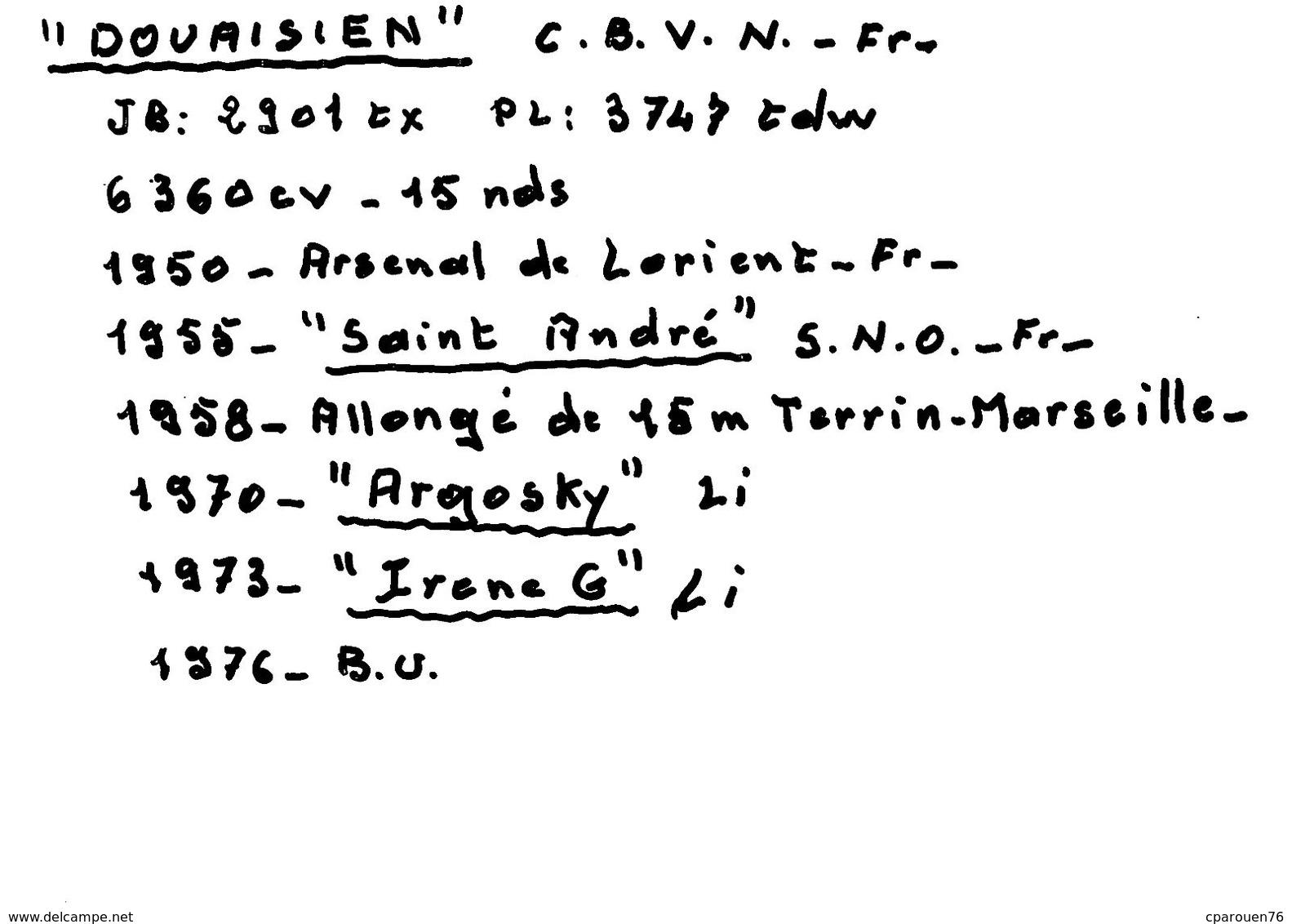 """Photo  Moderne Bateau Identifié """" Douaisien """" C.B.V.N 1950 Arsenal De Lorient 1955 """" Saint André """" De Lorient ."""" Argosky - Boten"""
