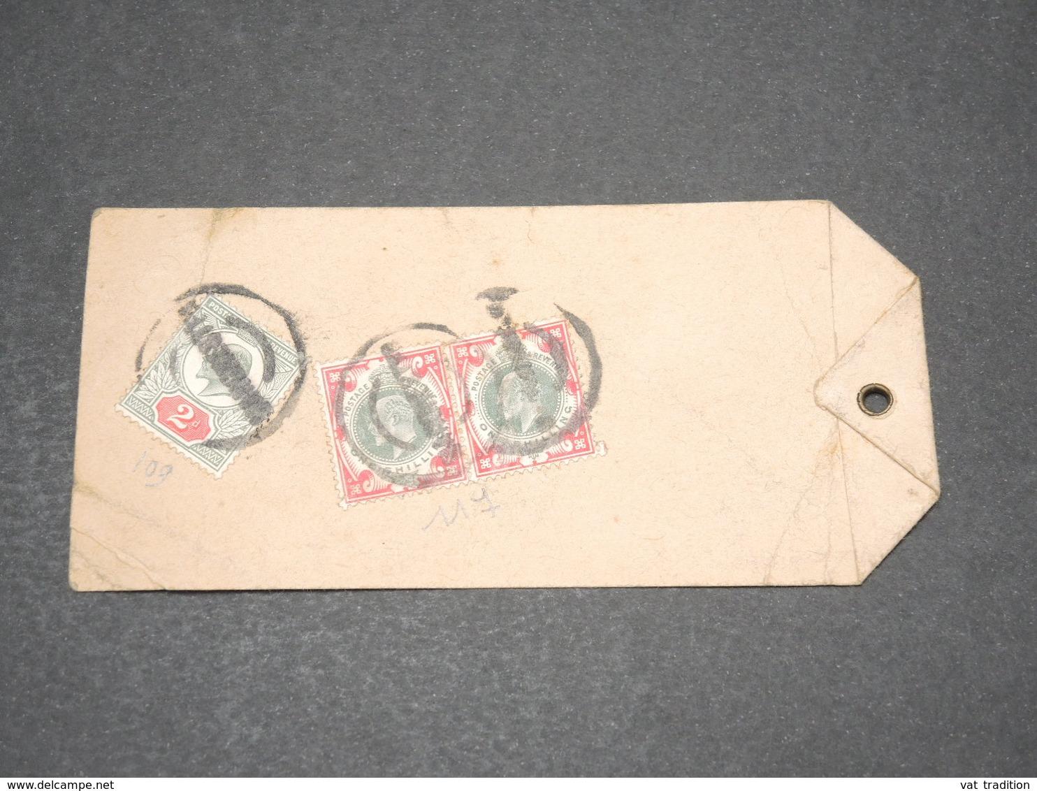GRANDE BRETAGNE - Étiquette De Colis Pour La France , Affranchissement Intéressant - L 14527 - Postmark Collection