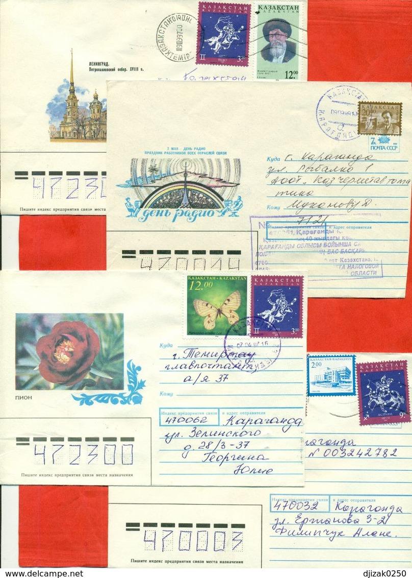 Kazakhstan.Four Envelopes Past The Mail. - Kazakhstan
