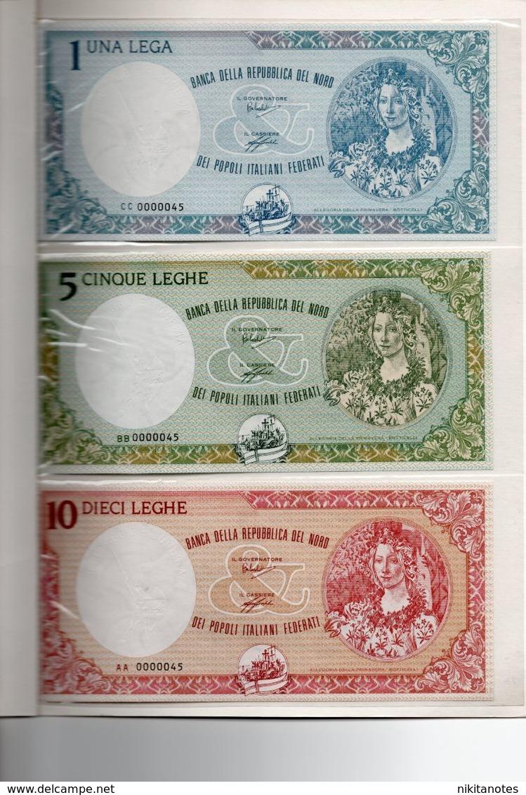 3 BANCONOTE 1 5 10 LEGHE LEGA BANCA DELLA REPUBBLICA DEL NORD SERIE 1993 ITALIA IN FOLDER - [ 9] Collezioni