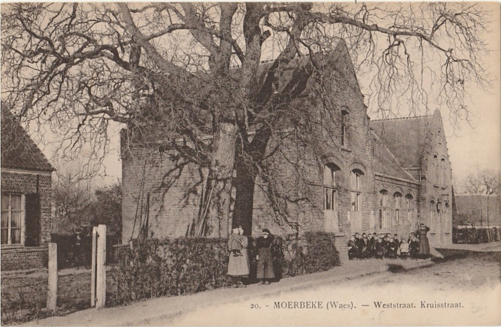 MOERBEKE WAAS  Weststraat. Kruisstraat - Moerbeke-Waas