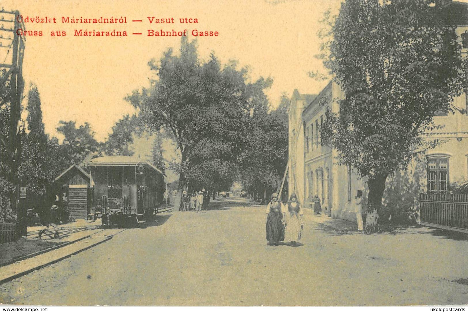 CPA Roumanie, Gruss Aus MARIARADNA, Bahnhof Gasse,  Tram - Romania