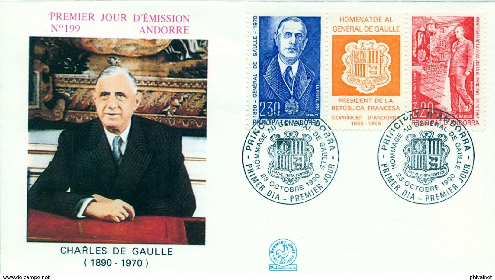 1990 ANDORRA FRANCESA , SOBRE DE PRIMER DIA , ED. 418 / 419 , HOMENAJE A CHARLES DE GAULLE - FDC