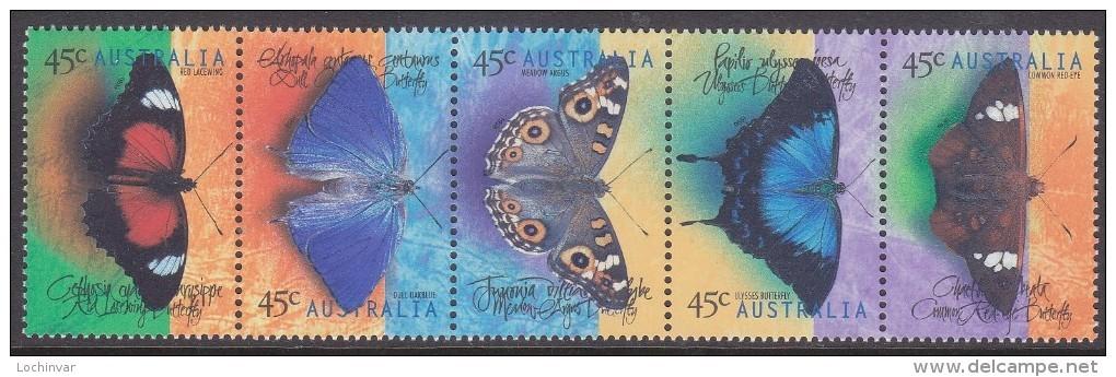 AUSTRALIA, 1998 BUTTERFLIES STRIP 5 MNH - 1990-99 Elizabeth II