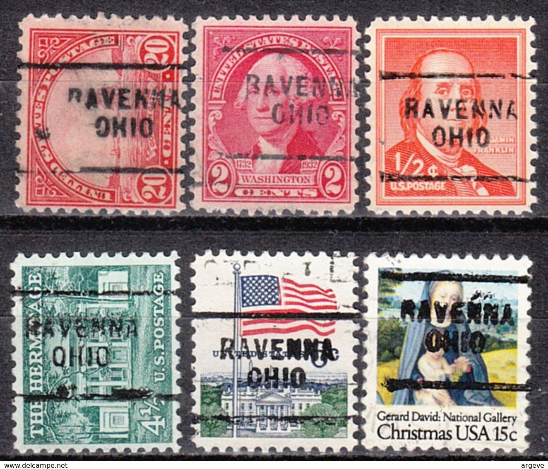 USA Precancel Vorausentwertung Preo, Locals Ohio, Ravenna 703, 6 Diff., Perf. 11x10 1/2 - Vereinigte Staaten