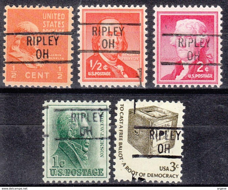 USA Precancel Vorausentwertung Preo, Locals Ohio, Ripley 839, 5 Diff. - Préoblitérés
