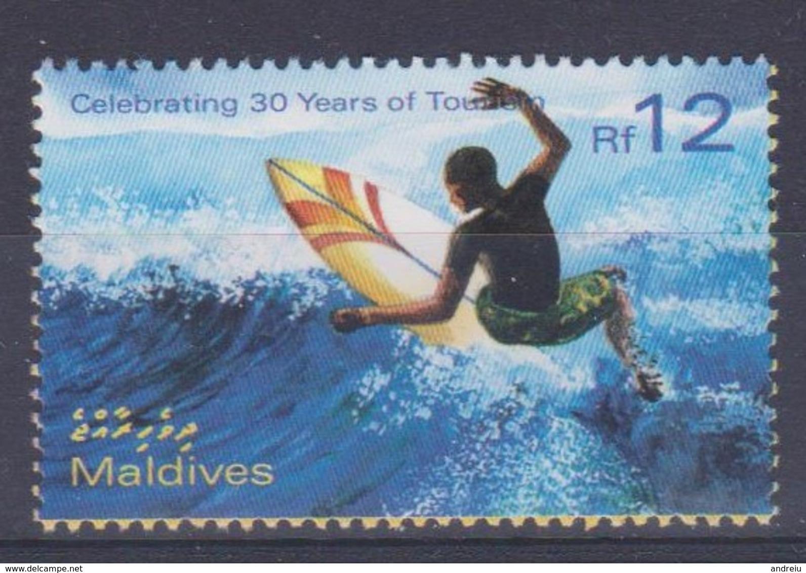 2002 Maldives - Celebrating 30 Years Of Tourism, Sea, Vawes, Surfing, Skateboard Yt 3401 MNH - Skateboard