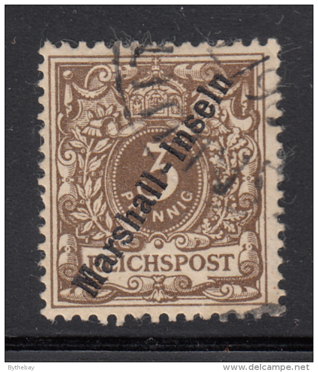 Marshall Islands 1899 Used Scott #7 Overprint (no C) On 3pf Crown/eagle Plate Flaw: Break In LR Band - Colonie: Marshall
