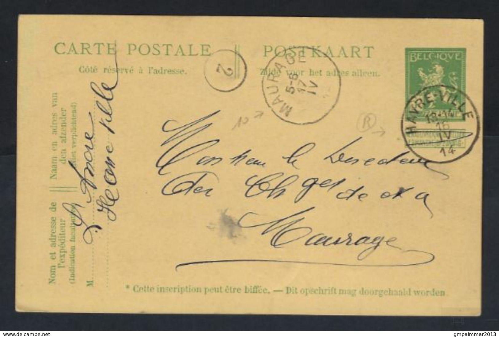 Postkaart Van Nr. 110 Met ZELDZAME Afstempelingen MAURAGE En HAVRE - VILLE , Staat Zie Scan ! - WW I