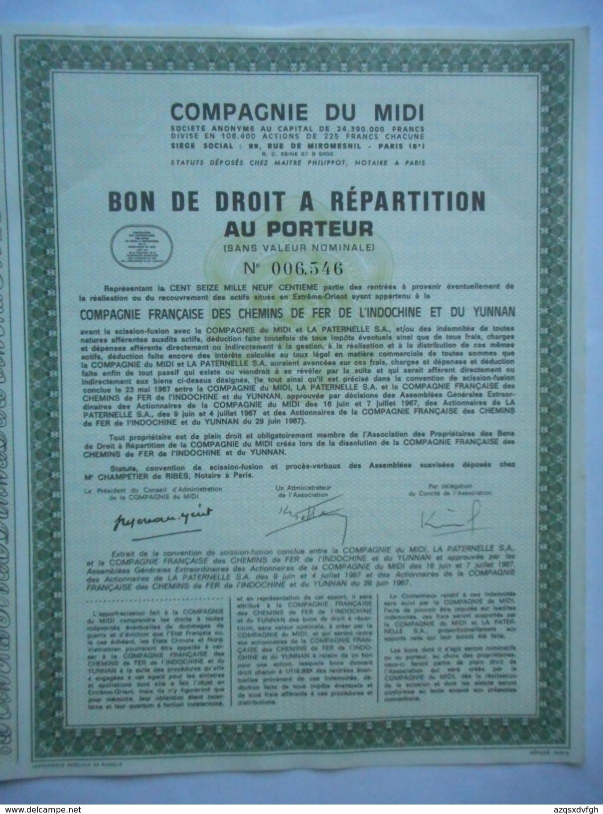 Chemins De Fer De L'Indochine Et Du YUNNAN   Cie Du Midi        1967 - Asie