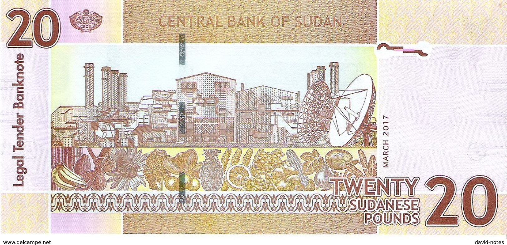 Sudan - Pick 74 - 20 Pounds 2017 - Unc - Soudan