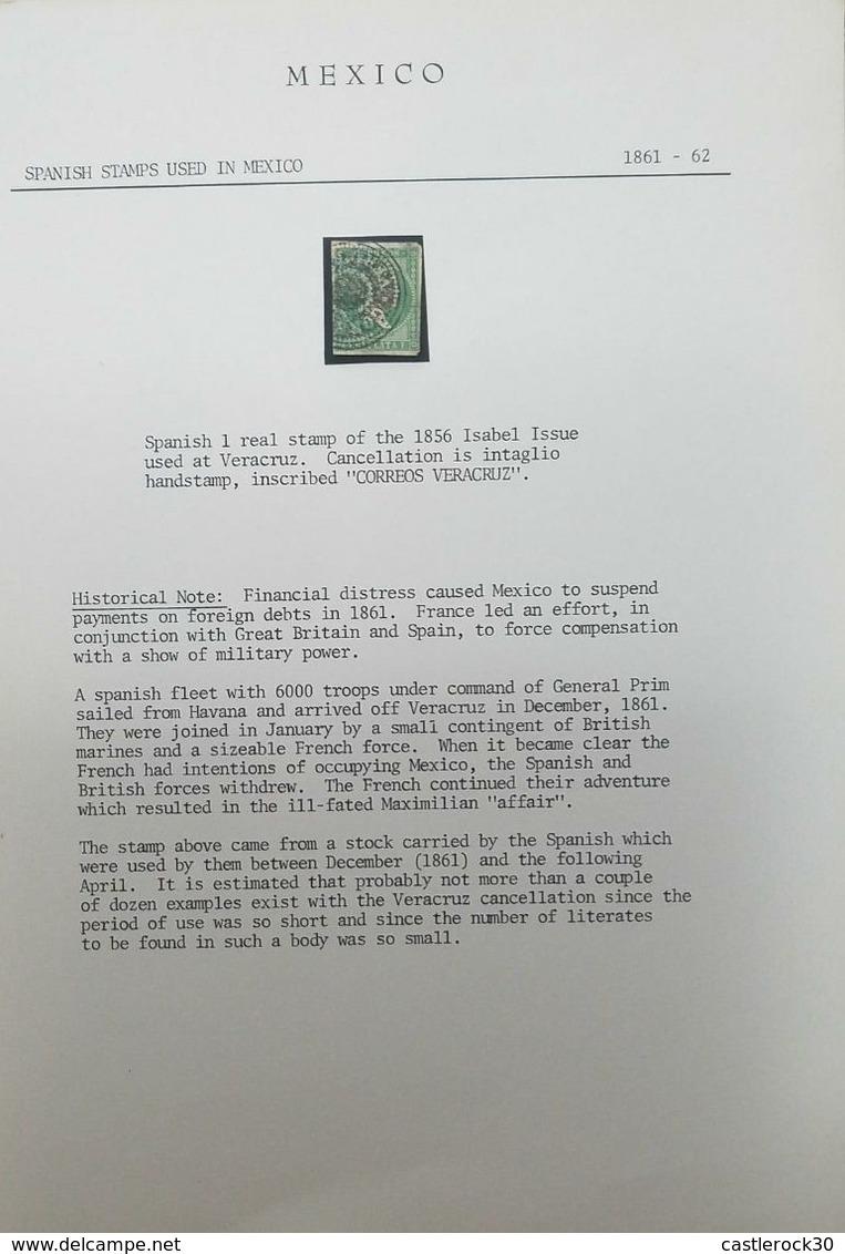 O) 1861 MEXICO, 1 REAL ISSUE USED AT VERACRUZ, OCCUPATION SPANISH IN VERACRUZ,  CANCELLATION IS INTAGLIO HANDSTAMP, NICE - Mexico