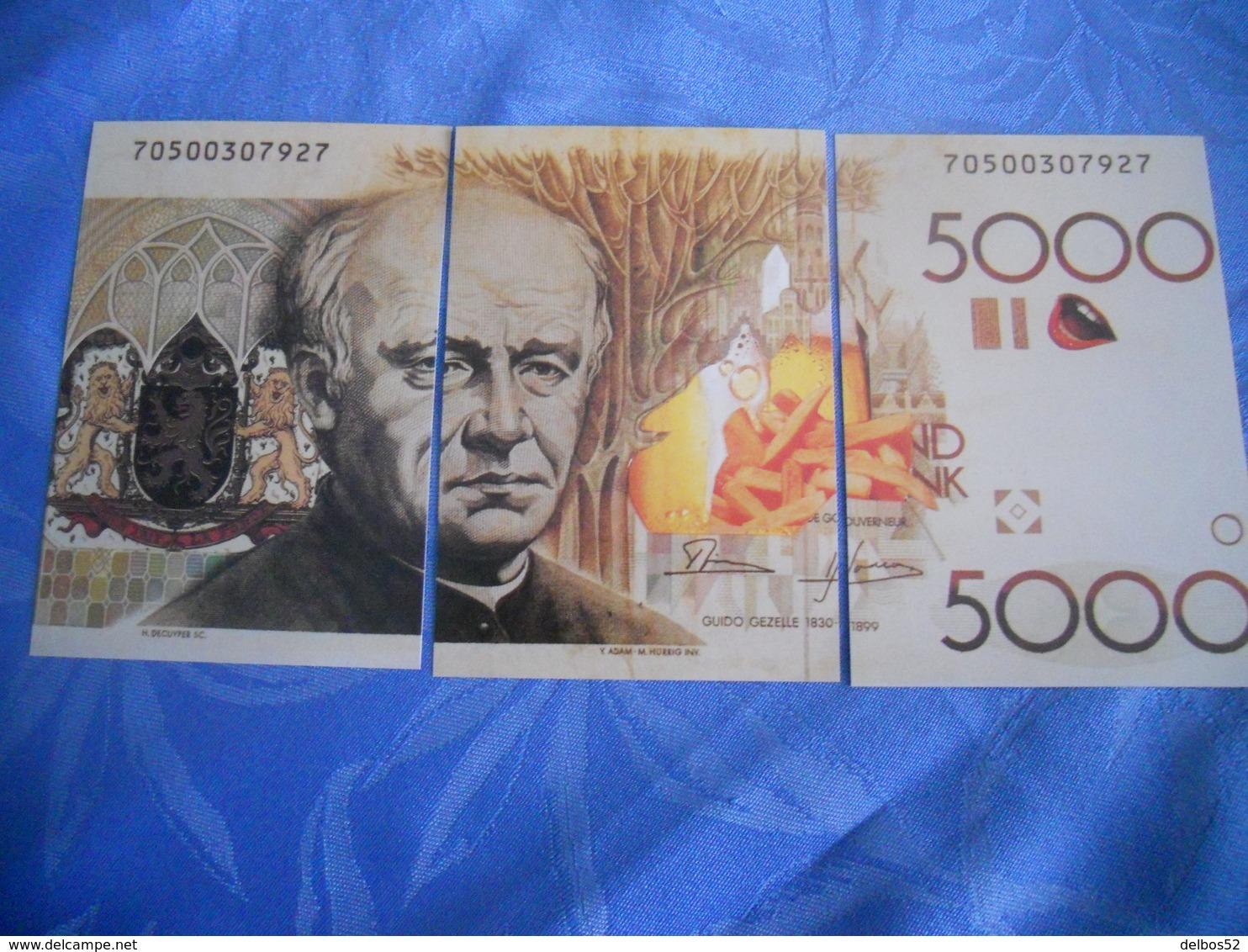 Belgique - Reproduction Et Interpretation Du Billet De 5.000 Mille Francs Belges En Trois Cartes Postales - Belgio