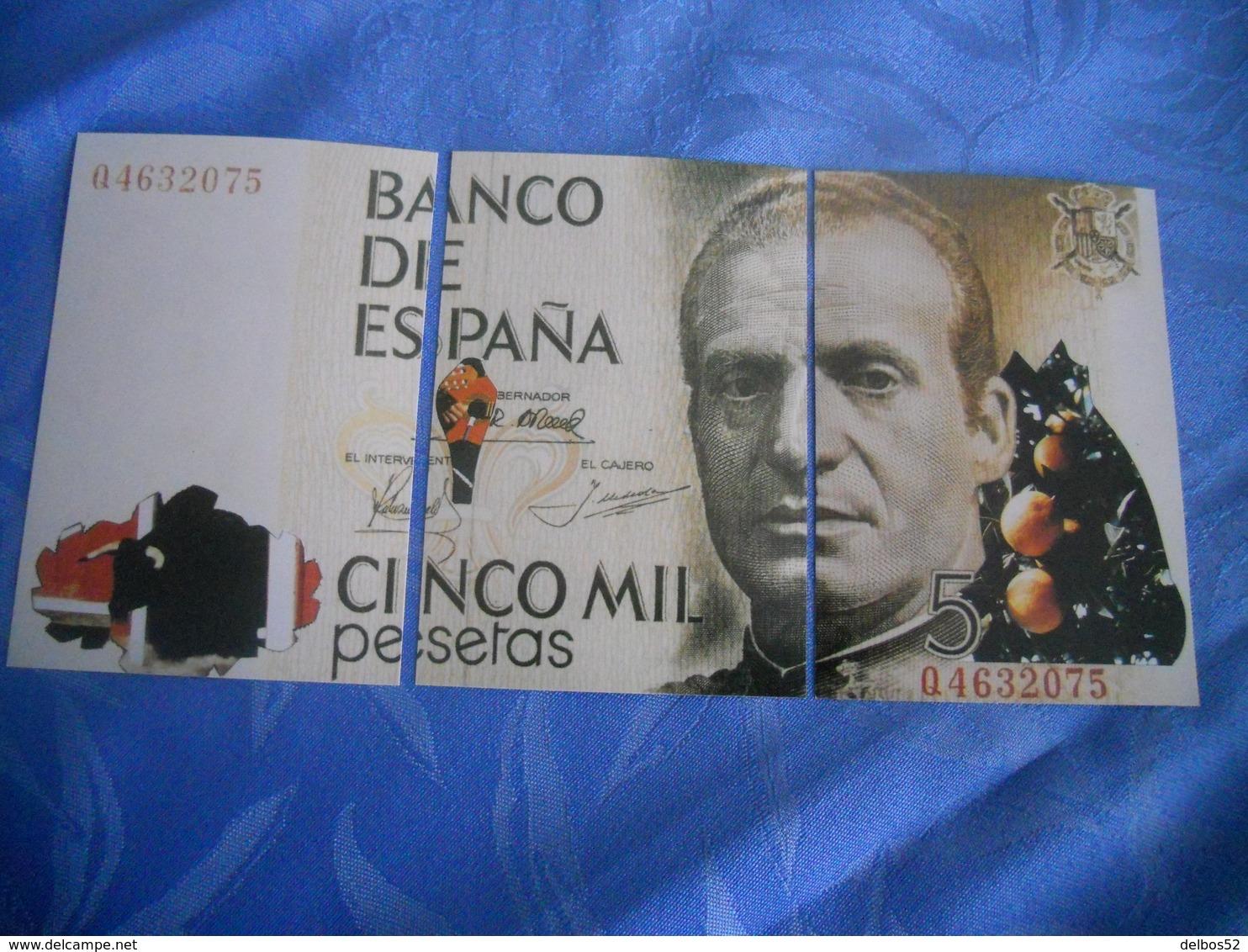 Espagne - Reproduction Et Interpretation Du Billet De 5.000 Pesetas En Trois Cartes Postales - Autres