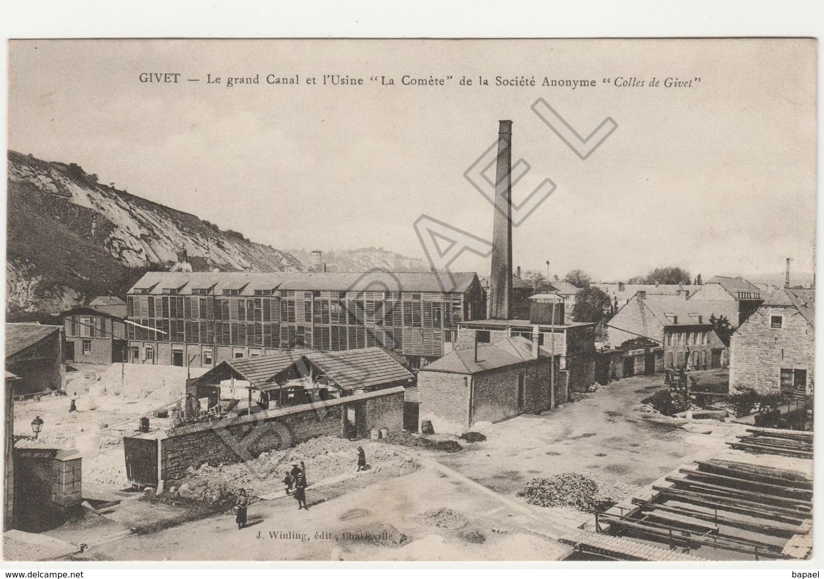 Givet (08) - Le Grand Canal - Usine ''La Comète'' (Sté Anonyme ''Colles De Givet'') (Circulé En 1919) - Givet