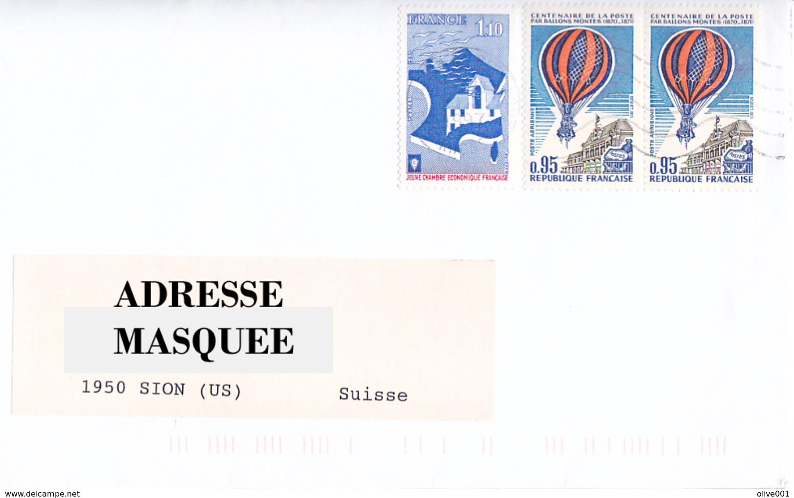 Lettre Voyagé De La France Pour La Suisse Oblitéré De Tassin Rhone Du 26/ 10/ 1997 Tp  Y&T N° 1942 & PA 45 X 2 - France