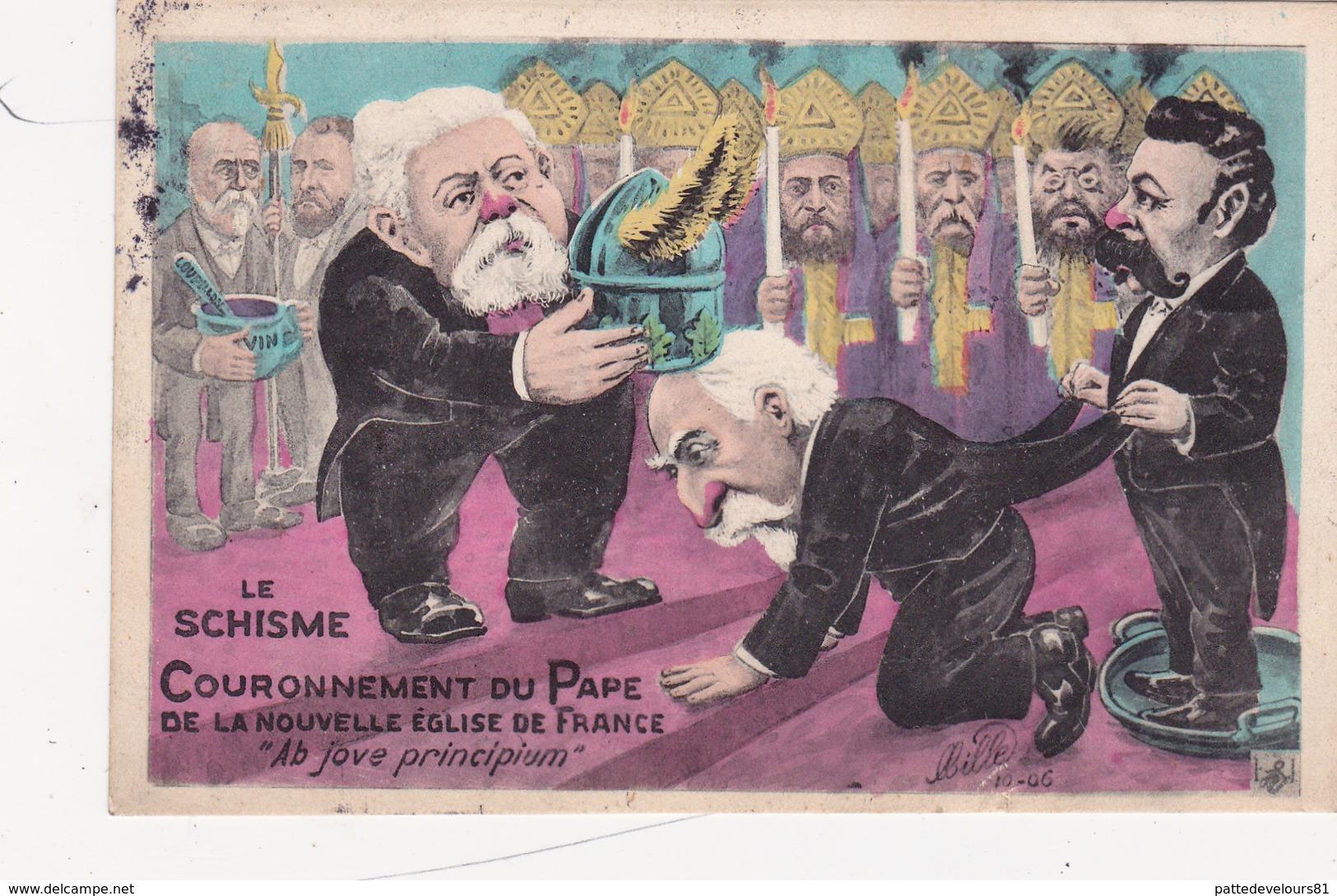 CPA Couronnement Du Pape Emile LOUBET Anti-Clérical Franc-Maçon Caricature Satirique Politique - Satiriques