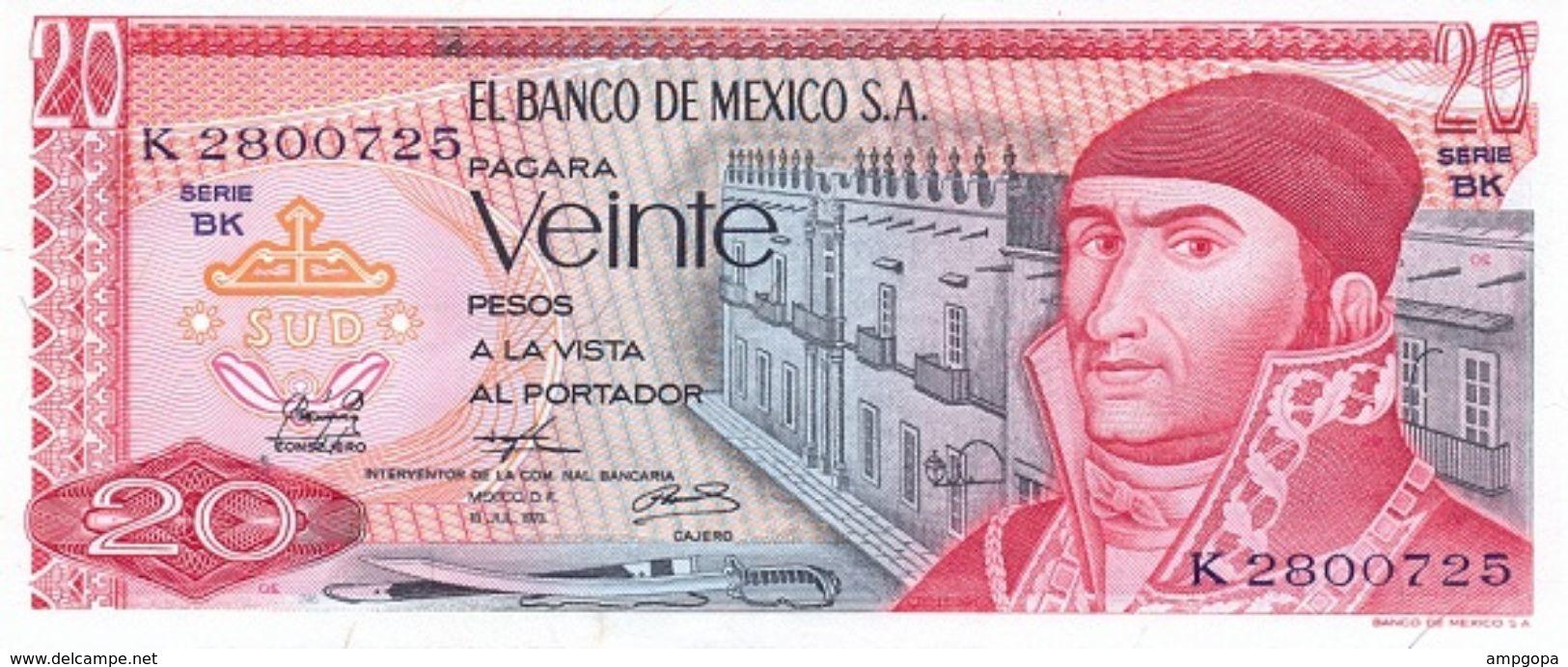 México 20 Pesos 18-7-1973 Pick 64.b.8 UNC - Mexico