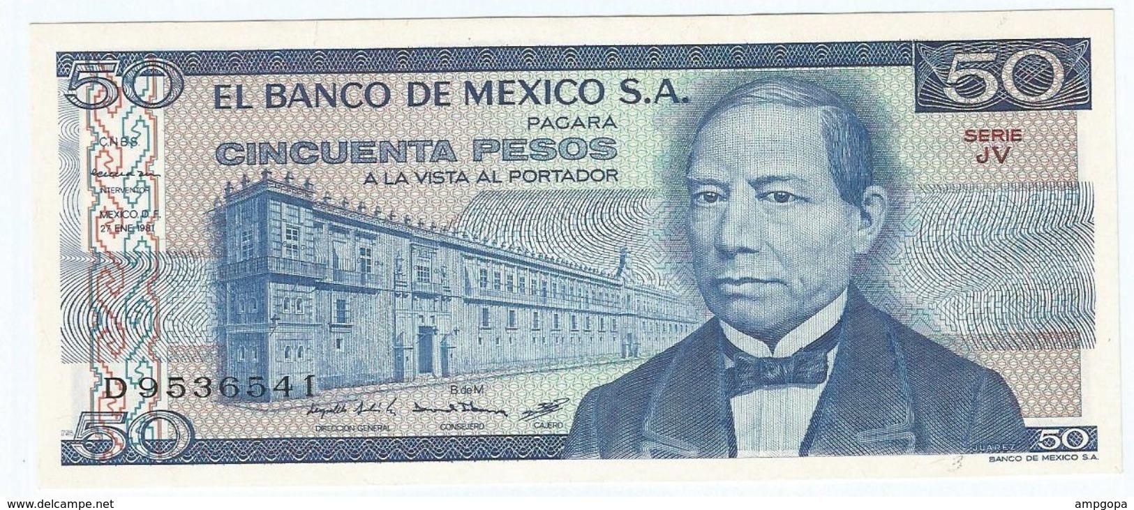 México 50 Pesos 27-1-1981 Pick 73 Serie JU-JV UNC - Mexico
