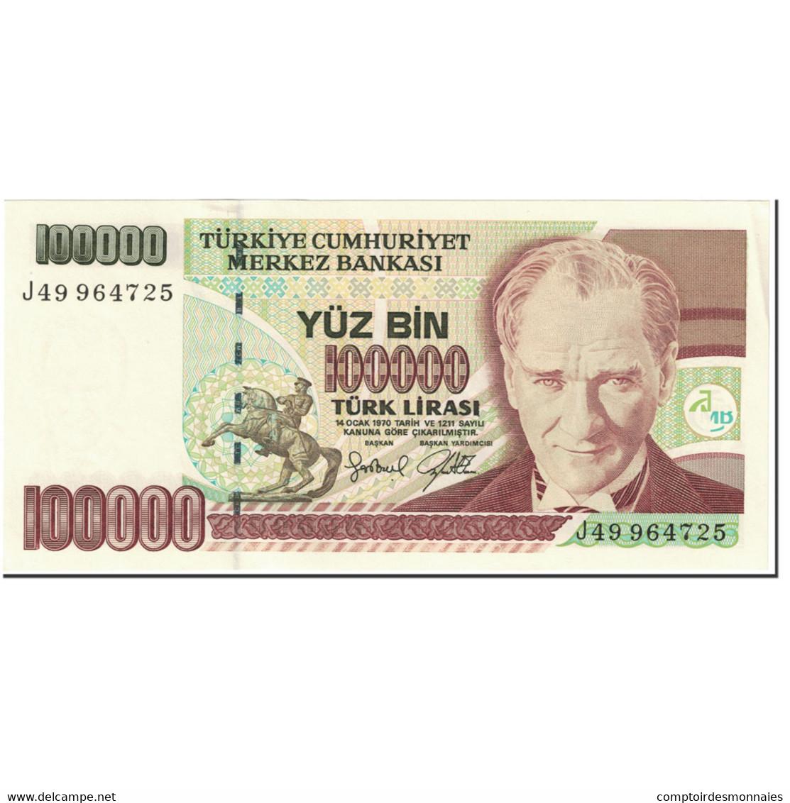 Billet, Turquie, 100,000 Lira, 2001, Old Date 1970-10-14, KM:206, NEUF - Turquia