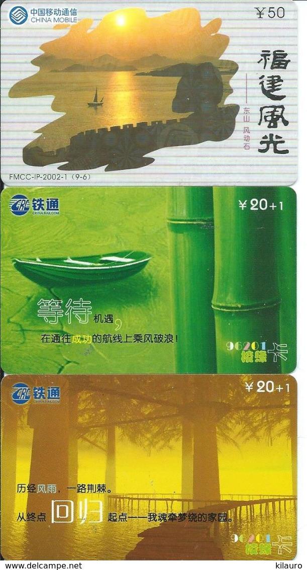 3 Télécartes Chine China Paysage (D 309) - Chine