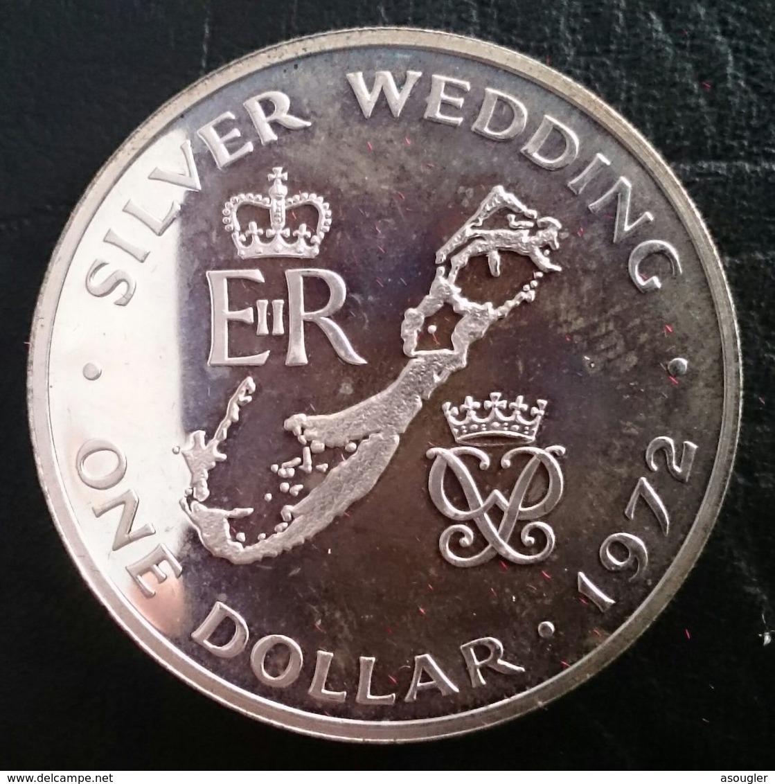"BERMUDA 1 DOLLAR 1972 SILVER PROOF ""Silver Wedding Anniversary"" Free Shipping Via Registered Air Mail - Bermudes"
