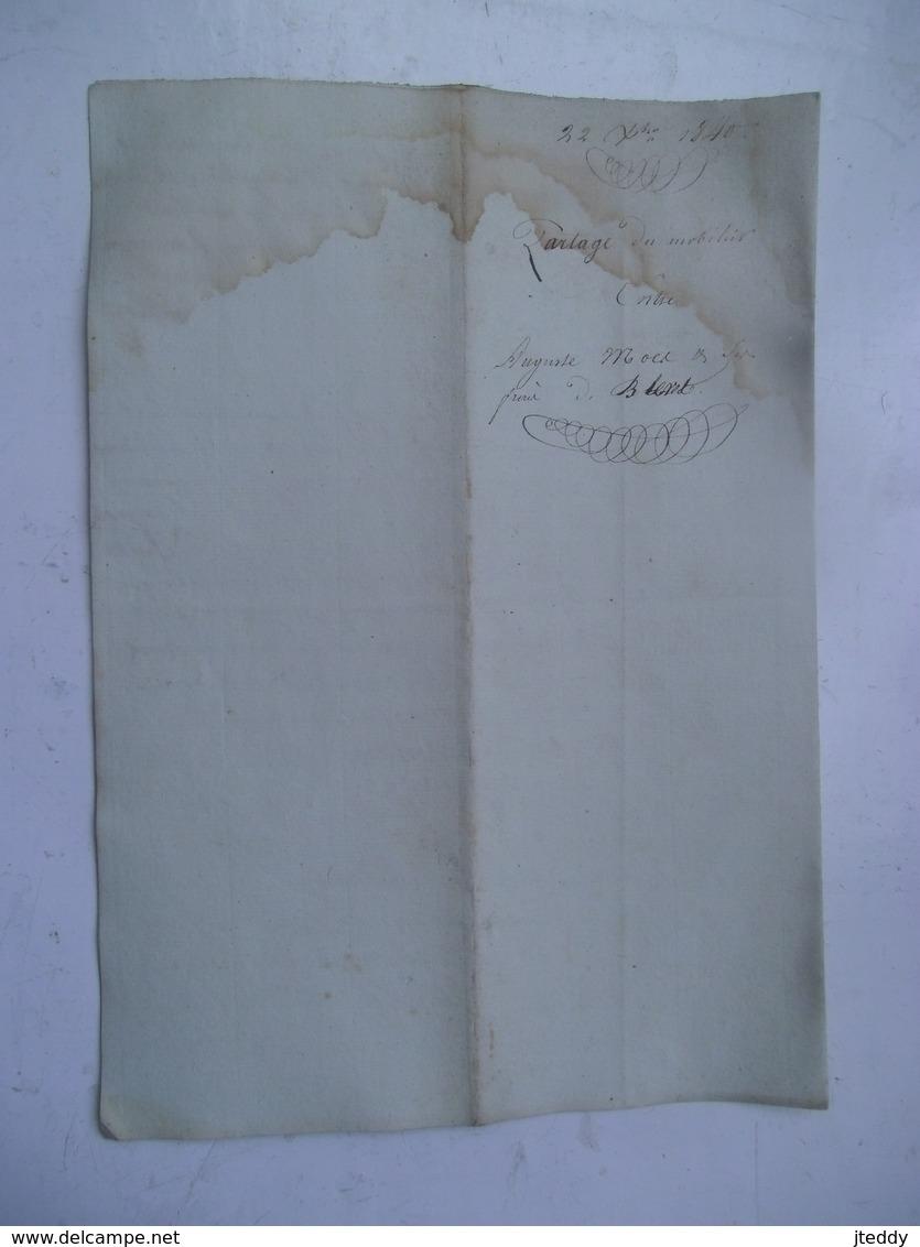 1840   Not. Akte  Verdeling Pierret Moos  - Elisabeth  Dewonck Te BLERET - Autres