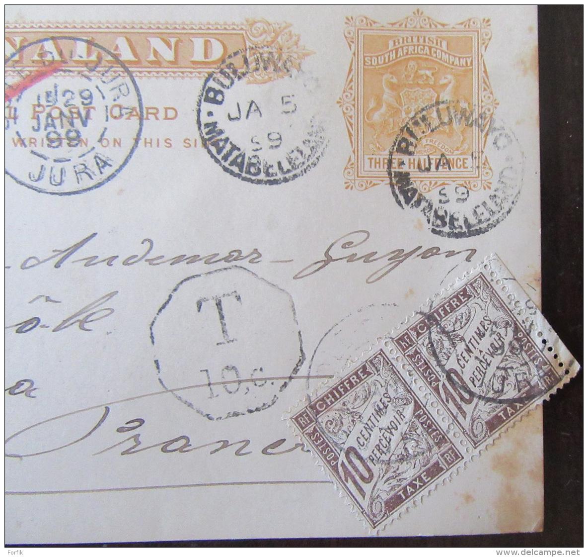 Entier Postal Mashonaland (ex-colonie Anglaise) - Daté 1899 à Destination De Dôle + Timbres Et Oblitération Taxe - Afrique Du Sud (...-1961)