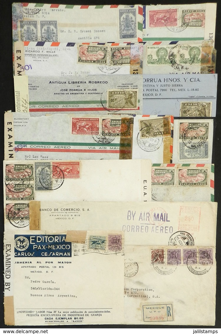 1060 MEXICO: 14 Covers Or Cards Sent To Argentina Between 1942 And 1945, ALL CENSORED, Fi - Mexico