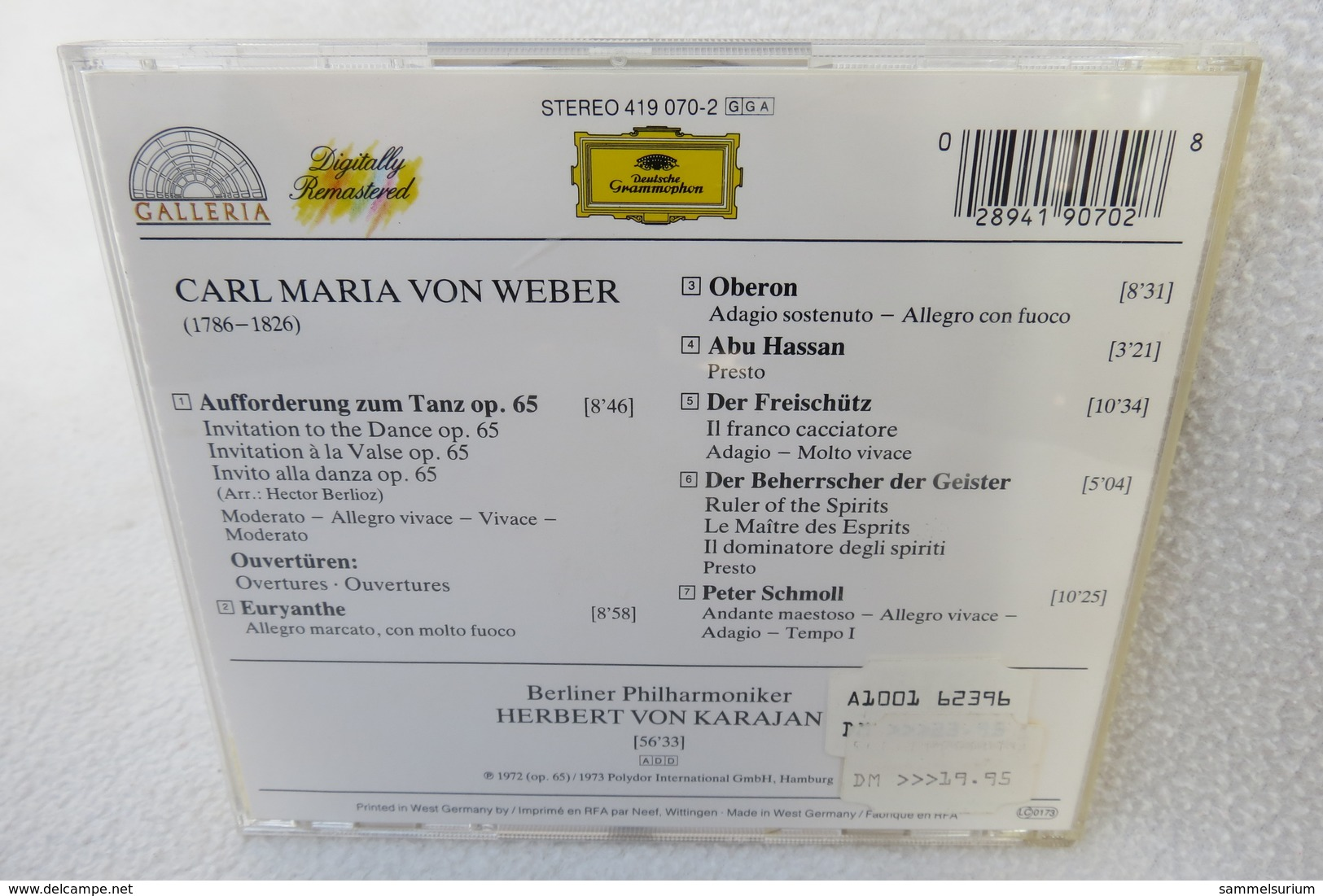 """CD """"Aufforderung Zum Tanz"""" Carl Maria Von Weber, Ouvertüren, Berliner Philharmoniker, Herbert Von Karajan - Oper & Operette"""