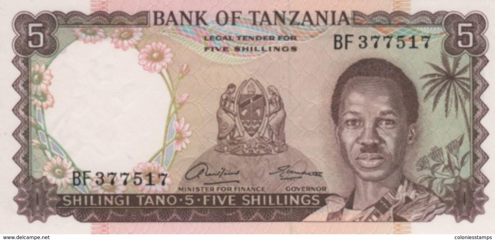 (B0613) TANZANIA, 1966 (ND). 5 Shillings. P-1a. UNC - Tanzania