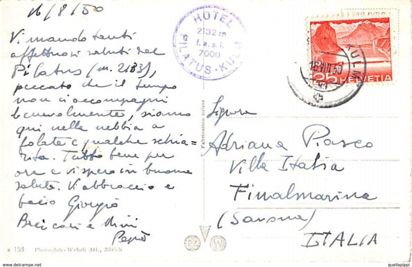 "07484 ""PILATUSBAHN UND BERNERALPEN"" TRENO, TIMBRO HOTEL PILATUS KULM. CART SPED 1950 - Treni"