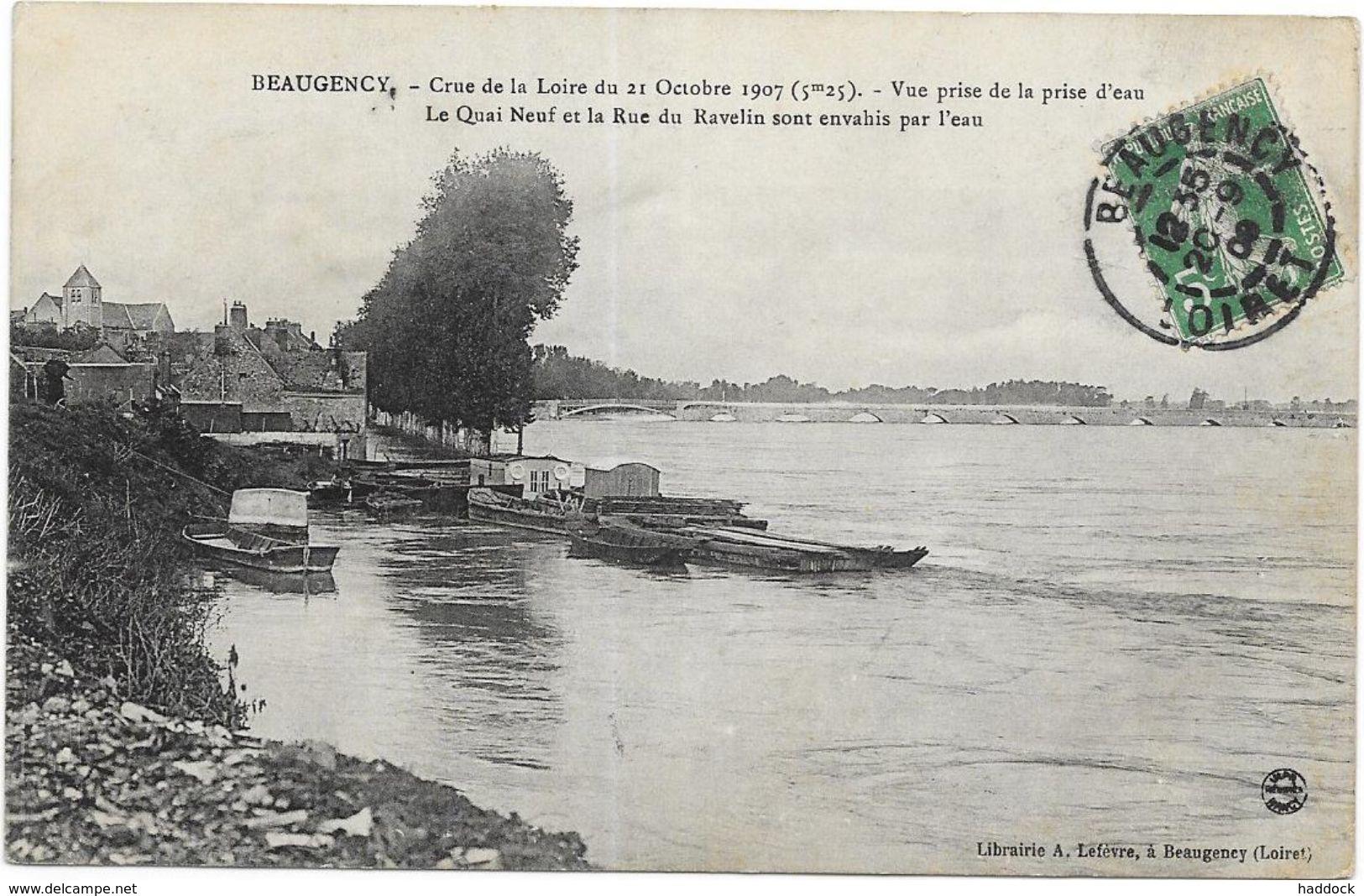 BEAUGENCY: CRUE DE LA LOIRE DU 21 OCTOBRE 1907 - Beaugency