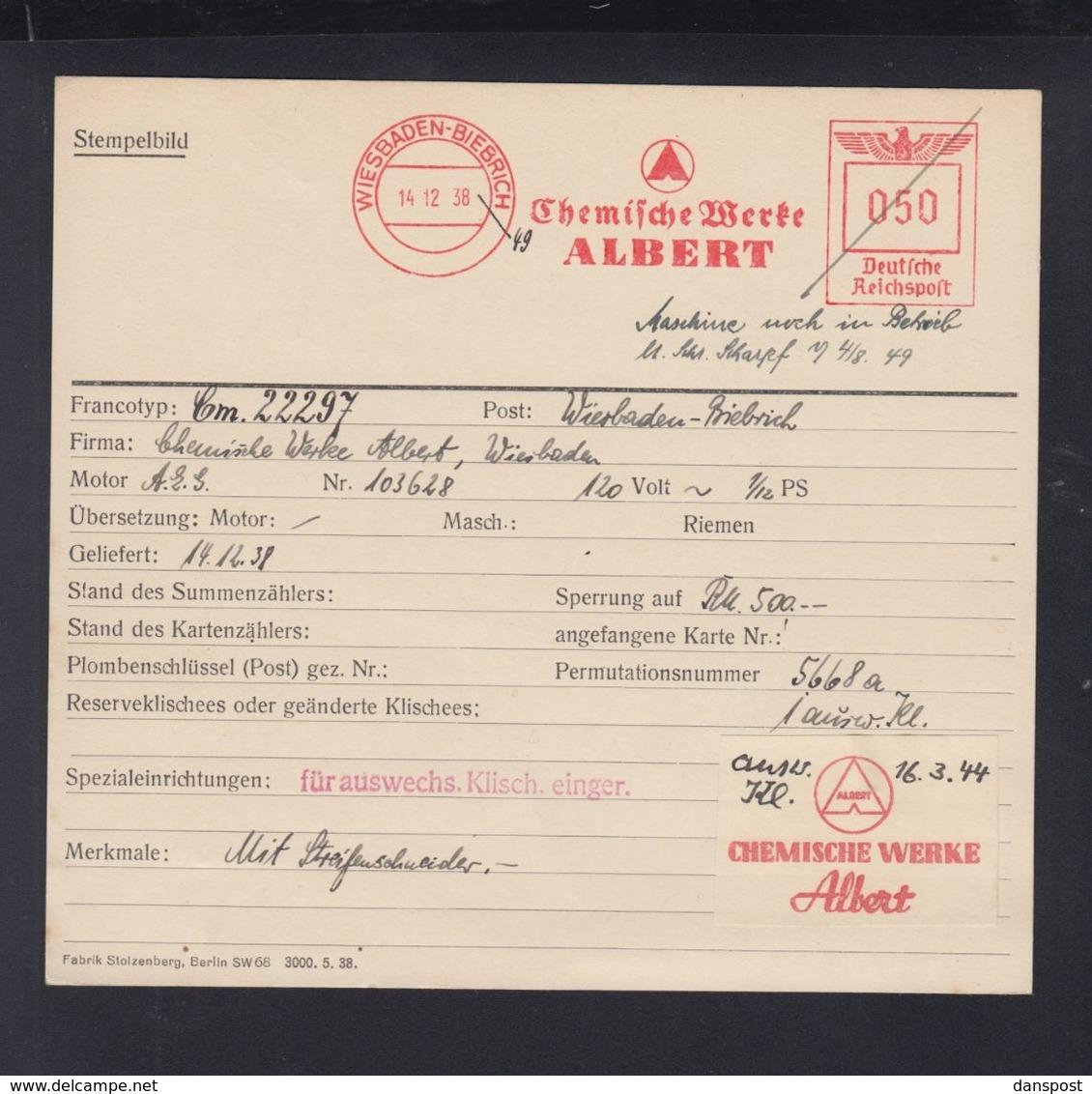 Dt. Reich Archiv- Und Reparaturkarte Fa. Francotyp 1938 Chemische Werke Albert Wiesbaden-Biebrich - Germania