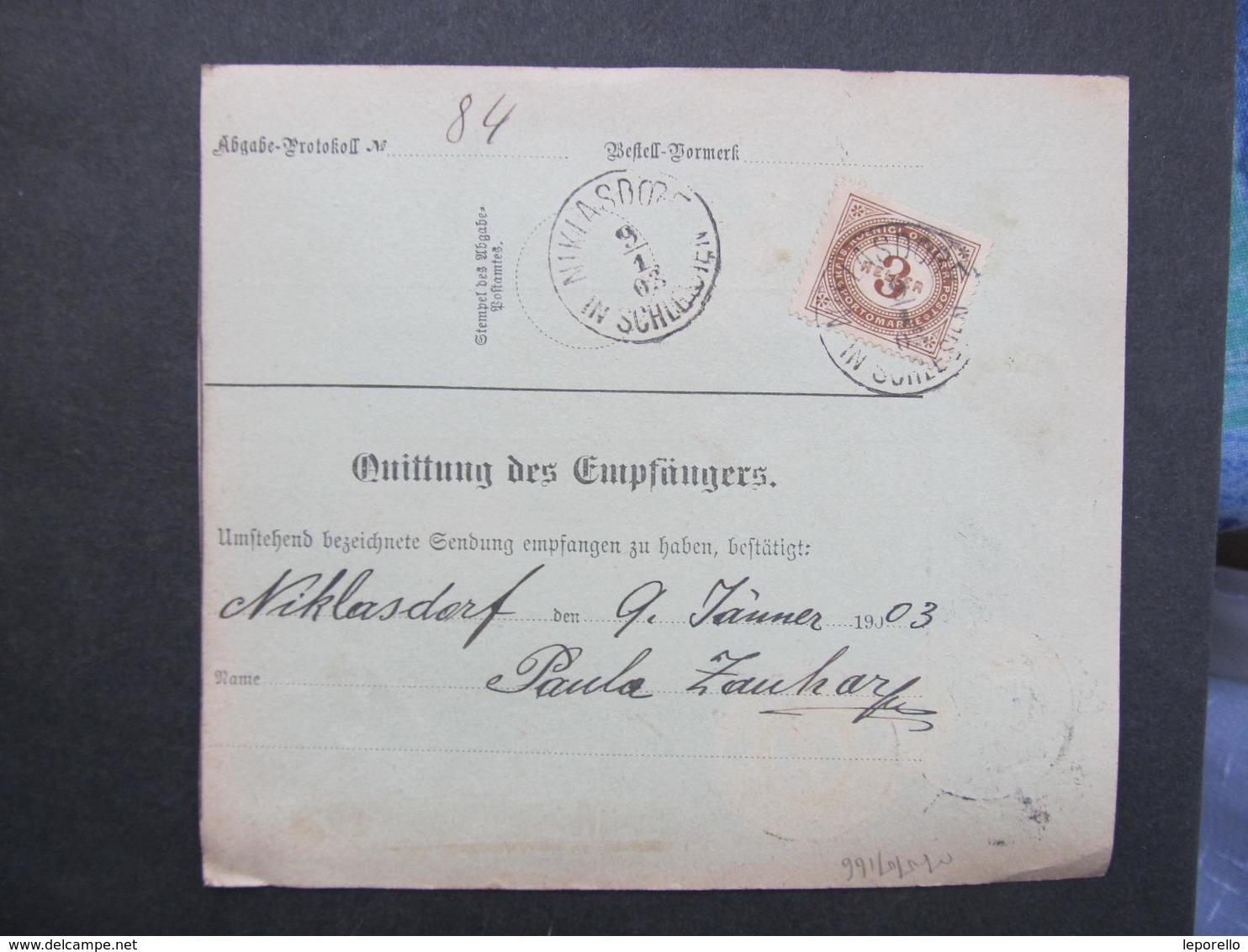 PAKETSCHEIN Proschwitz - Niklasdorf 1903 /// D*30644 - Briefe U. Dokumente