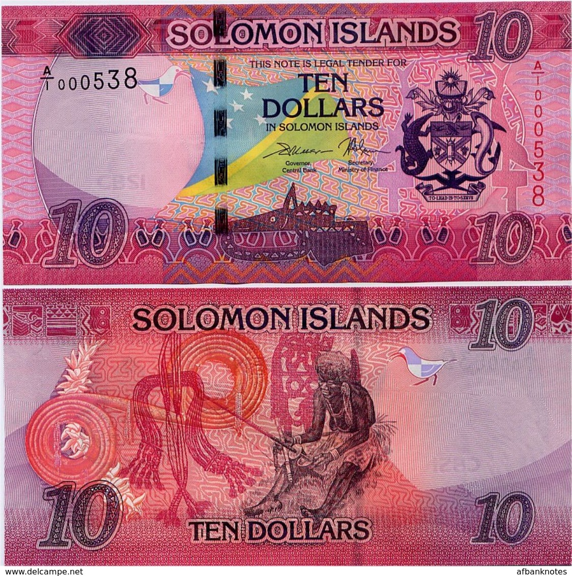 SOLOMON IS.         10 Dollars       P-33       ND (2017)       UNC  [ Sign. 11 ] - Salomons
