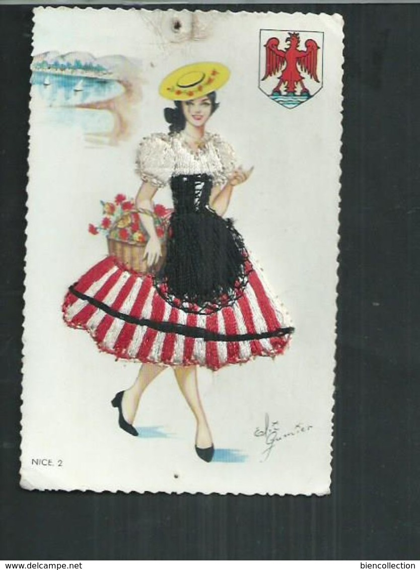 Carte Fantaisie Brodée Costume Régionaux. Nice (Alpes Maritimes) - Embroidered