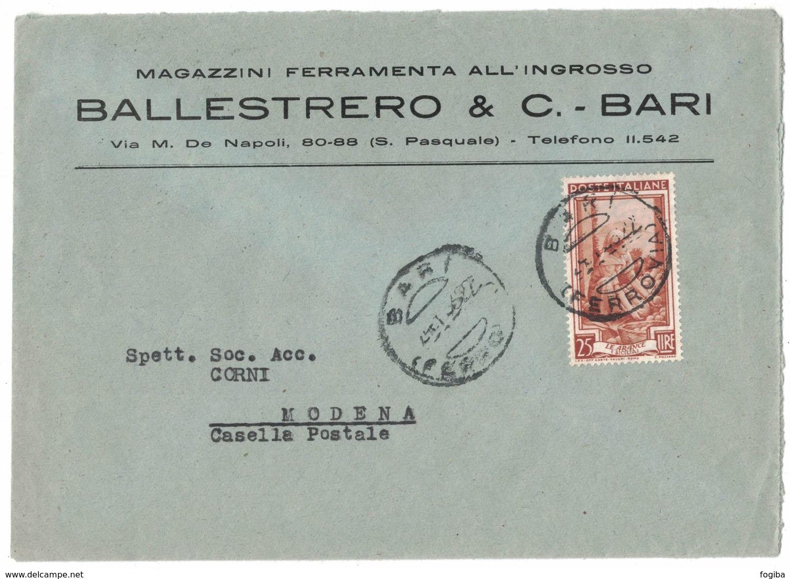 TY27    Storia Postale 1953 Italia Al Lavoro £.25 Isolato In Tariffa Su Busta Pubblicitaria Magazzini Ballestrero Bari - 6. 1946-.. Repubblica