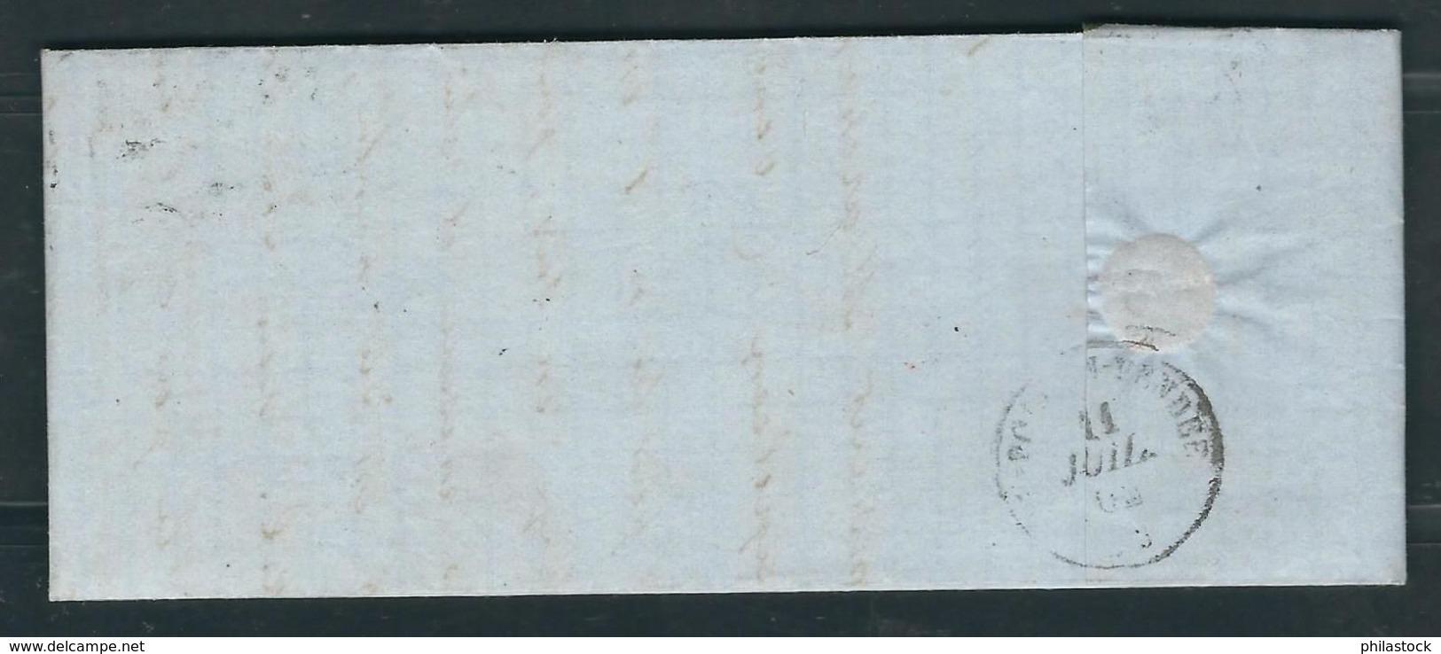 FRANCE N° 14 Obl. S/lettre Paris Bueau B - 1853-1860 Napoleone III