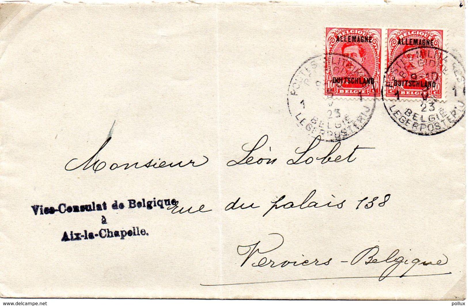 1923 COB OC 42 Albert 1er En Paire Sur Envel.surcharge Allemagne Duitschland Vice Consulat Bel. Aix La Chapelle  PMB 1 - Guerre 14-18