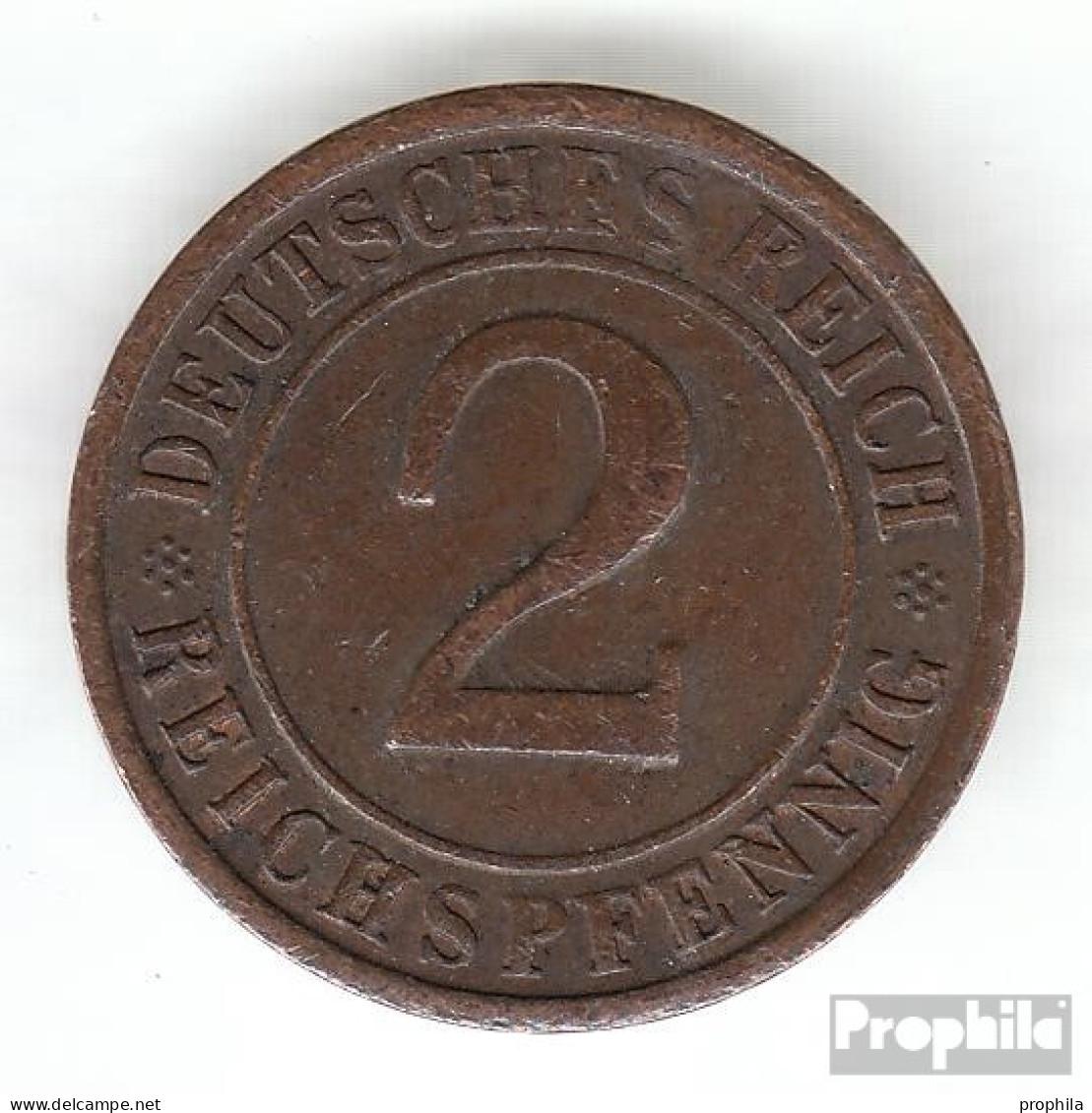Deutsches Reich Jägernr: 314 1924 J Sehr Schön Bronze Sehr Schön 1924 2 Reichspfennig Ährengarbe - [ 3] 1918-1933 : Weimar Republic