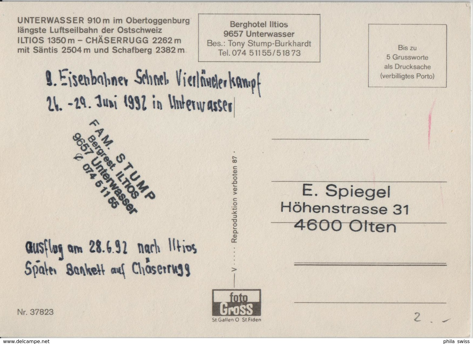 Unterwasser Im Obertoggenburg Längste Luftseilbahn Der Ostschweiz Iltios-Chäserrugg Mit Säntis Und Schafberg - SG St. Gall