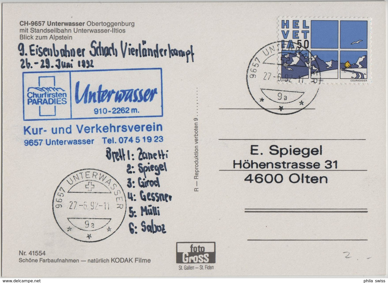 9657 Unterwasser Obertoggenburg Mit Standseilbahn Unterwasser-Iltios - Blick Zum Alpstein - Photo: Gross - SG St. Gall