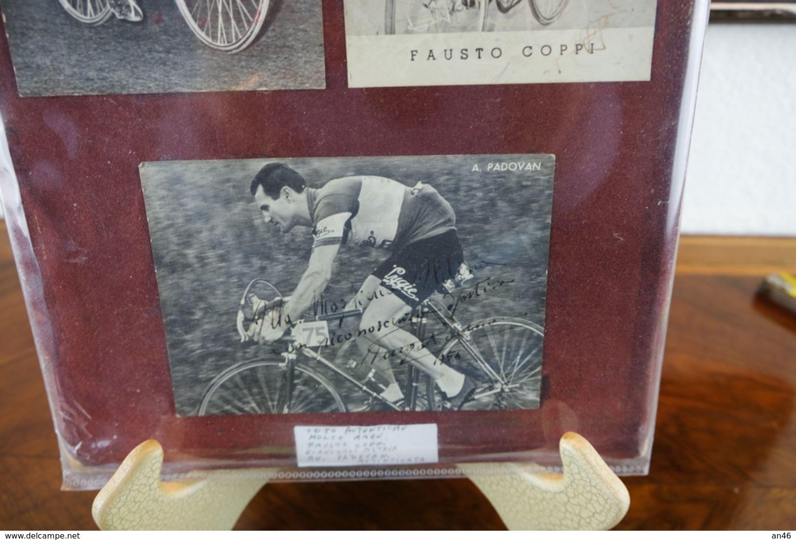 Ciclismo_Composizione Vintage Di Tre Foto E Una Bandierina Rarissima Di Fausto Coppi_G.Astrua_A.Padoan-Autenticata- - Cycling